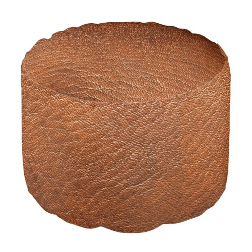 Brown Leather Texture Round Pouf