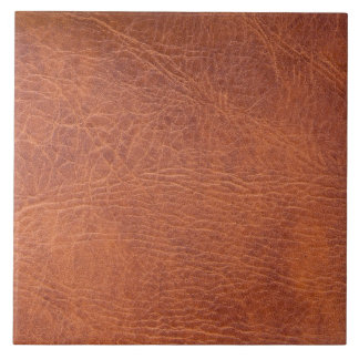 Brown leather ceramic tiles