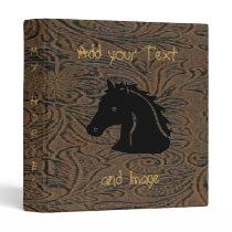 Brown Leather Tool Print W/Horse Head Avery Binder