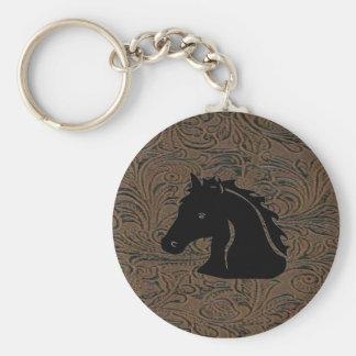Brown Leather Tool Print W/Horse Head Keychain