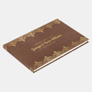 Brown Leather Vintage Gold Lace Border Guest Book