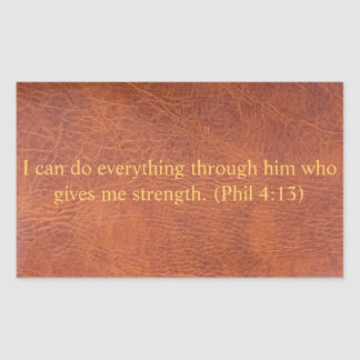 Brown leather with bible verse rectangular sticker