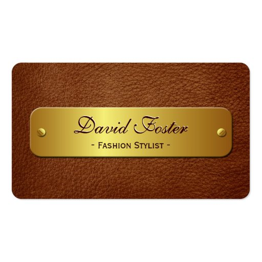 Brown Leather with Gold Label - Elegant Rounded