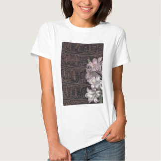 Brown Leather With Pink Flowers Floral Tee Shirt