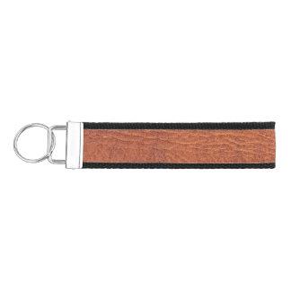 Brown leather wrist keychain