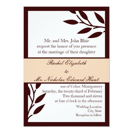 "Brown Leaves: Invitation 5"" X 7"" Invitation Card"