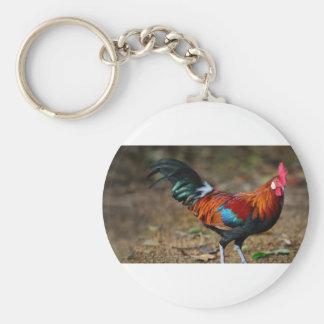 Brown Leghorn Rooster Keychain
