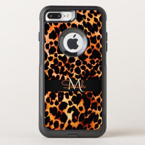 Brown Leopard Animal Print Monogram Phone Case