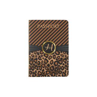 Brown Leopard Animal Print - Monogram Passport Holder