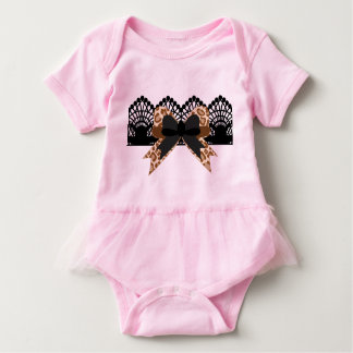 Brown Leopard Bow & Black Lace Pink Tutu Baby Bodysuit