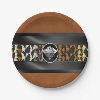 Brown Leopard Diamond Diva Paper Plate