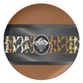 Brown Leopard Diamond Diva Plate