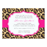 Brown Leopard & Hot Pink Baby Shower Invitations