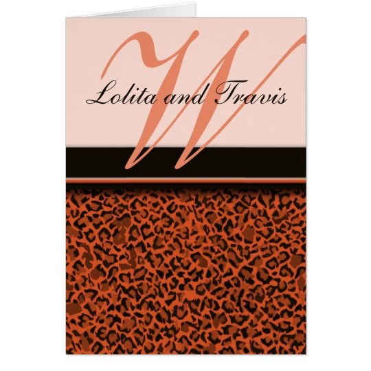 Brown Leopard Monogrammed Thank You Note Cards