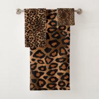 Brown Leopard Pattern Bath Towel Set