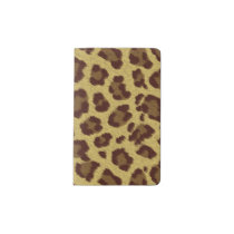 Brown Leopard Print Animal Pattern Pocket Moleskine Notebook