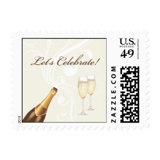 "Brown ""Let's Celebrate!"" Champagne Stamp"