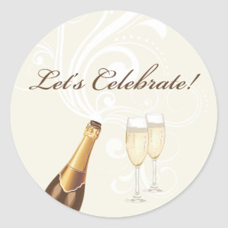 "Brown ""Let's Celebrate!"" Champagne Sticker"