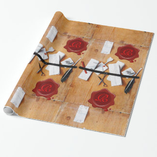 BROWN LETTER HOLDER IN WOOD ,RED WAX SEAL MONOGRAM WRAPPING PAPER