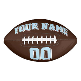 BROWN LIGHT BLUE AND WHITE Custom Football