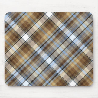 Brown, light blue and white tartan design mouse pad