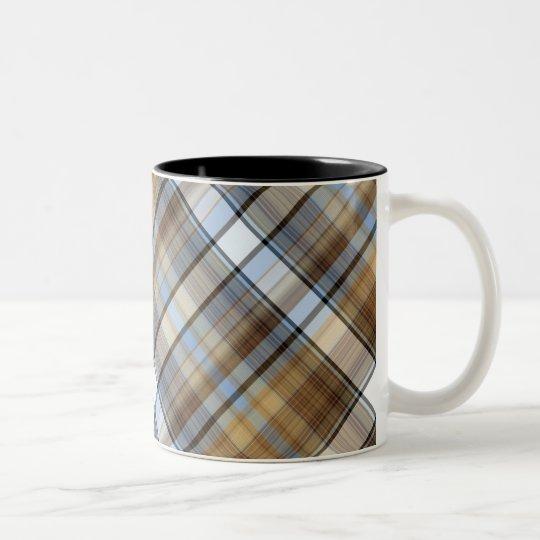 Brown, light blue and white tartan design Two-Tone coffee mug