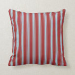 [ Thumbnail: Brown & Light Blue Colored Lined Pattern Pillow ]