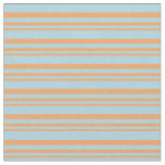 [ Thumbnail: Brown & Light Blue Colored Lined/Striped Pattern Fabric ]