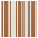 [ Thumbnail: Brown & Light Cyan Colored Pattern of Stripes Fabric ]