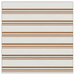 [ Thumbnail: Brown & Light Cyan Stripes/Lines Pattern Fabric ]
