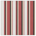 [ Thumbnail: Brown, Light Cyan, Tan, and Black Lined Pattern Fabric ]