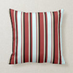 [ Thumbnail: Brown, Light Cyan, Tan, and Black Lined Pattern Throw Pillow ]