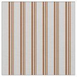 [ Thumbnail: Brown & Light Gray Colored Striped Pattern Fabric ]