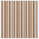 [ Thumbnail: Brown & Light Gray Colored Stripes/Lines Pattern Fabric ]