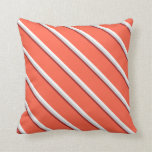 [ Thumbnail: Brown, Light Gray, White, and Red Lines Pattern Throw Pillow ]