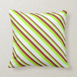 [ Thumbnail: Brown, Light Green, and Mint Cream Lines Pillow ]