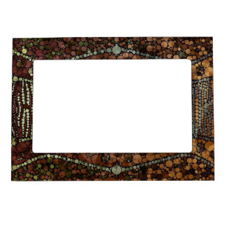 Brown Light Green Bling Abstract Magnetic Photo Frame