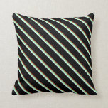 [ Thumbnail: Brown, Light Green, Light Cyan, and Black Colored Throw Pillow ]