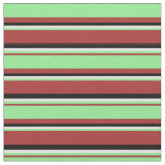 [ Thumbnail: Brown, Light Green, Light Cyan & Black Stripes Fabric ]