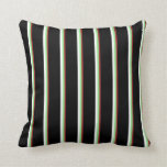 [ Thumbnail: Brown, Light Green, White, and Black Colored Throw Pillow ]