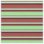 [ Thumbnail: Brown, Light Green, White & Black Stripes Fabric ]