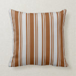 [ Thumbnail: Brown & Light Grey Colored Stripes/Lines Pattern Throw Pillow ]