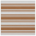 [ Thumbnail: Brown & Light Grey Lines Fabric ]