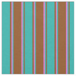 [ Thumbnail: Brown, Light Sea Green & Orchid Lines Fabric ]