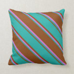[ Thumbnail: Brown, Light Sea Green & Orchid Lines Throw Pillow ]