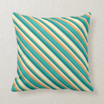 [ Thumbnail: Brown, Light Sea Green, Teal, and Light Yellow Throw Pillow ]