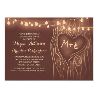 brown lights tree romantic engagement party card