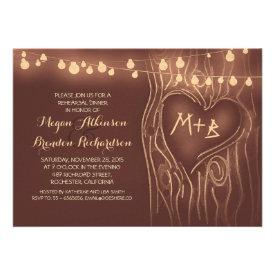 brown lights tree romantic rehearsal dinner personalized invites