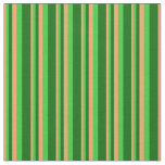 [ Thumbnail: Brown, Lime Green & Dark Green Pattern Fabric ]
