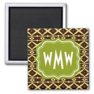 Brown Lime Trellis Pattern with Custom Monogram 2 Inch Square Magnet